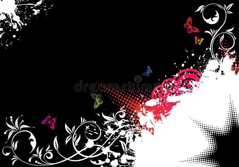Frame floral de Grunge ilustração royalty free