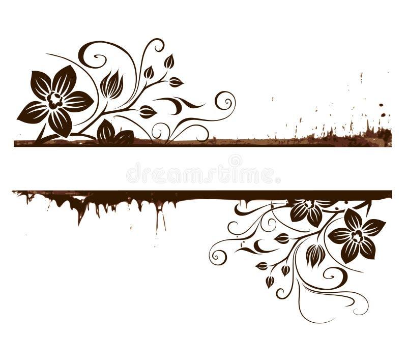 Frame floral de Grunge ilustração do vetor