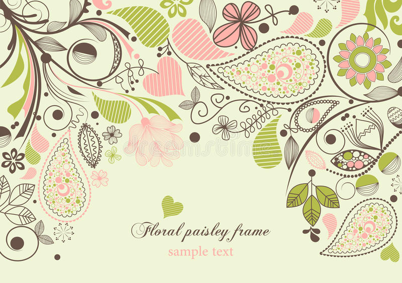 Frame floral de paisley ilustração do vetor