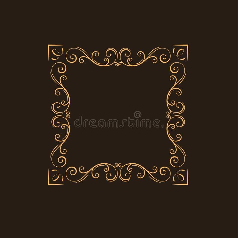 Frame floral decorativo Redemoinhos, beira decorativa Decoração da página do Flourish Estilo do vintage Divisor ornamentado Vetor ilustração do vetor