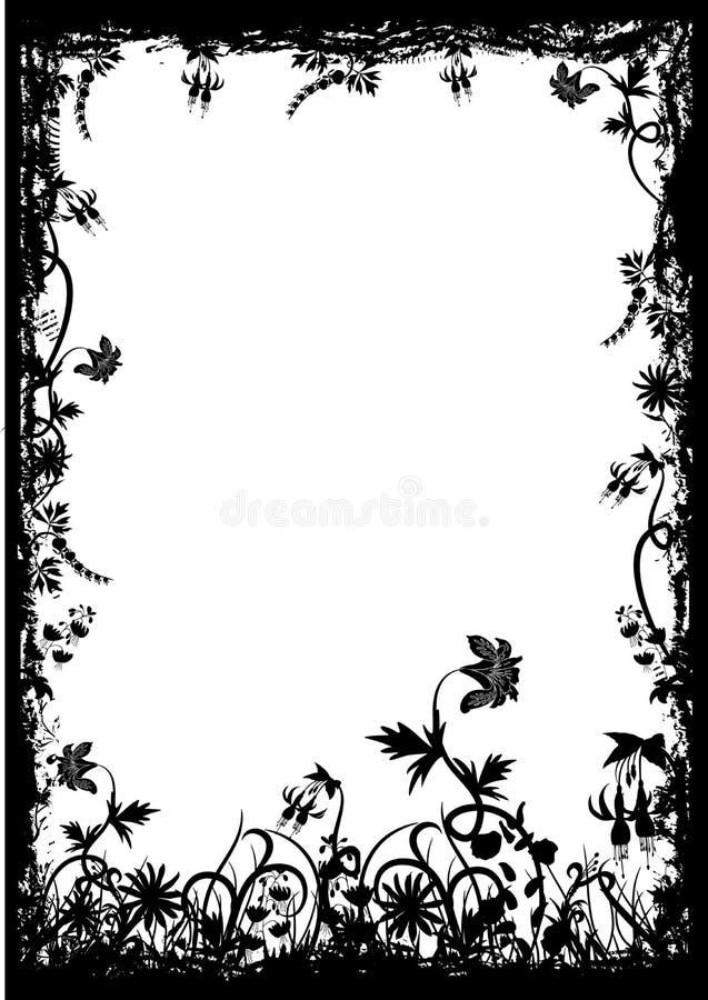 Frame floral do grunge, vetor ilustração royalty free