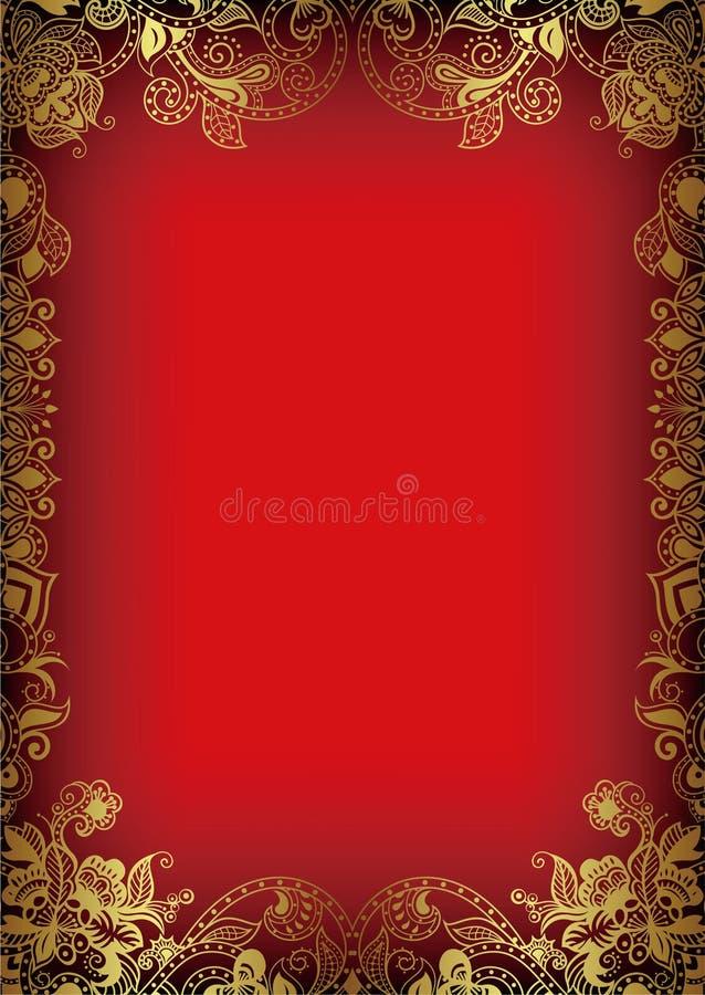 Frame floral do ouro de Ásia ilustração stock