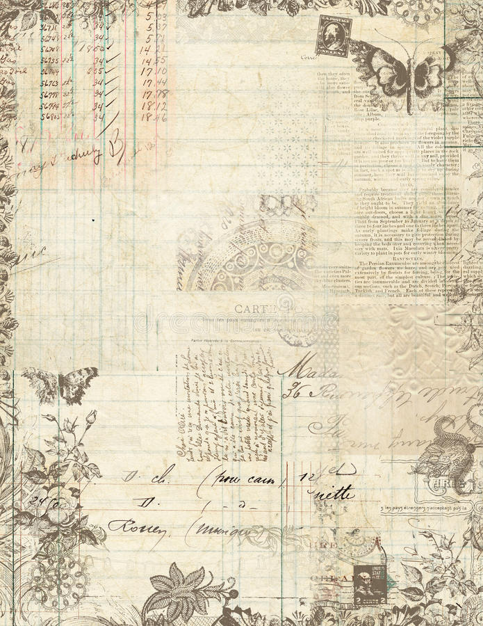 Frame floral do scrapbook do vintage botânico ilustração stock