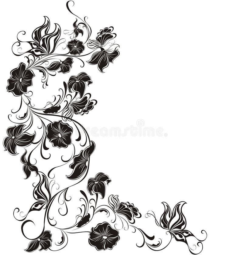 Frame floral do vetor das flores e das borboletas ilustração royalty free