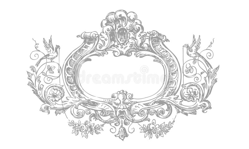 Frame floral do Victorian detalhado ilustração royalty free