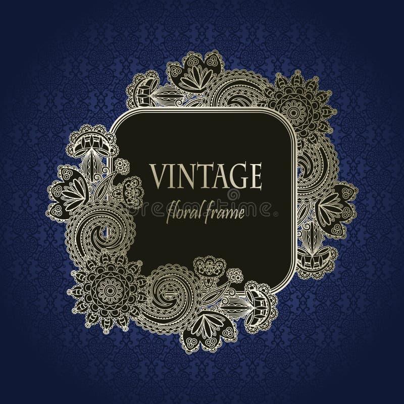 Frame floral do vintage ilustração stock