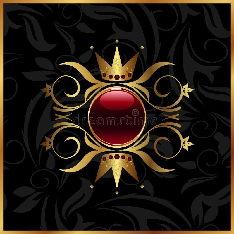 Frame floral dourado com coroa ilustração royalty free