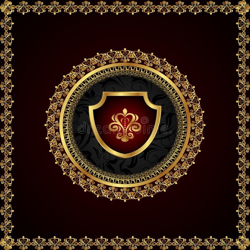 Frame floral dourado com elementos heráldicos ilustração royalty free