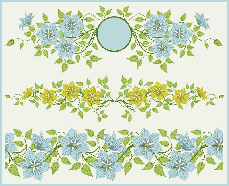 Frame floral e beira. ilustração stock