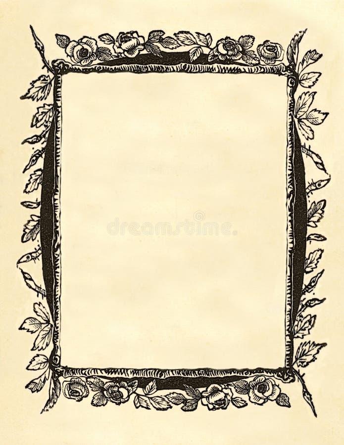 Frame floral em branco do victorian imagens de stock royalty free