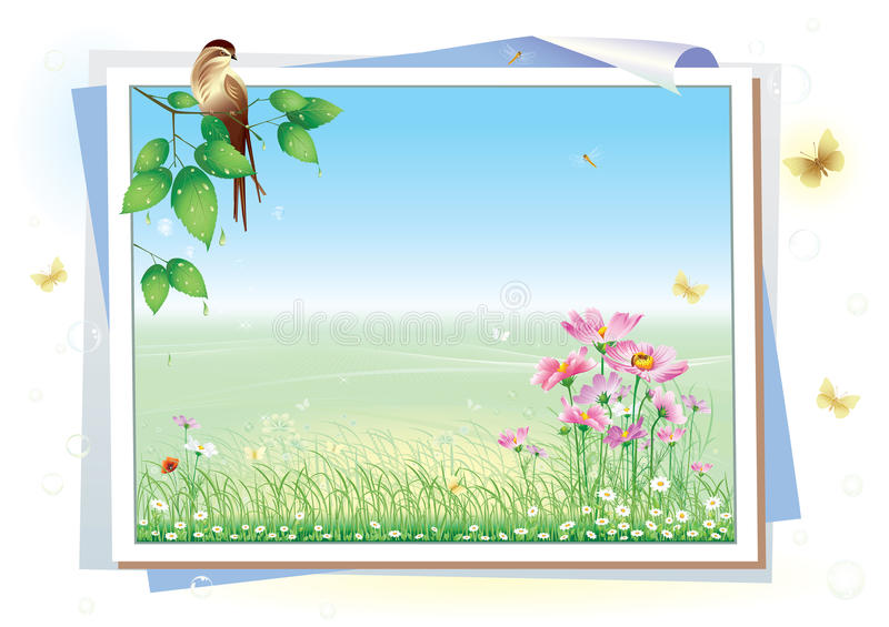 Frame with floral meadow vector illustration