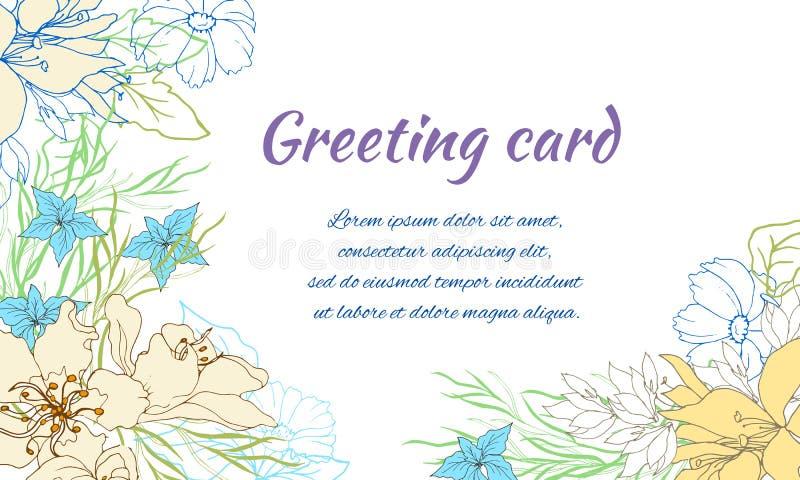 Frame floral para o texto Flores da mola em um fundo branco Estilo do vintage, ilustra??o do vetor ilustração stock