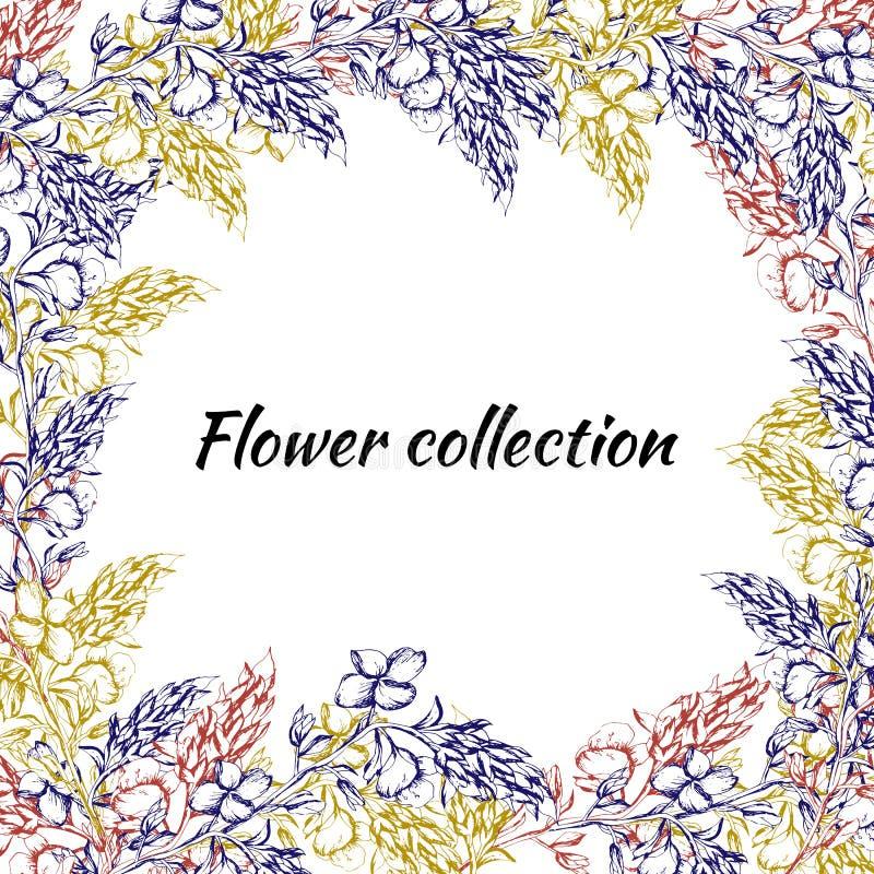 Frame floral para o texto Flores tiradas do contorno para a decoração, papel, cartões, cumprimentos Ilustra??o do vetor ilustração royalty free