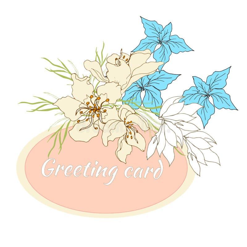 Frame floral para o texto Grupo de flores do vetor Flores desenhados à mão do vintage no fundo branco Ilustra??o do vetor ilustração royalty free