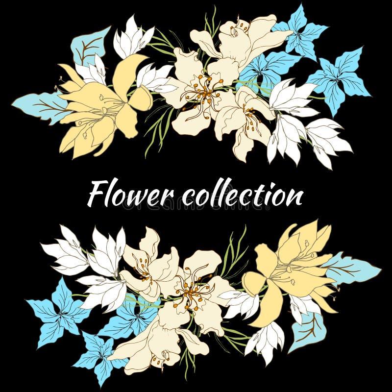 Frame floral para o texto Grupo de flores do vetor Flores tiradas m?o do vintage no fundo preto Ilustra??o do vetor Estilo do vin ilustração stock