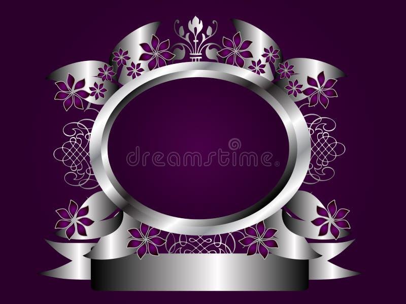 Frame floral roxo e de prata abstrato ilustração royalty free