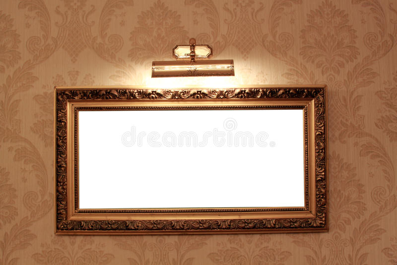 Frame on the floral wallpaper. With booster light royalty free stock photos