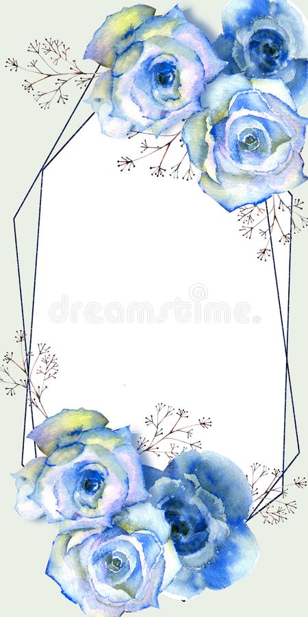 Frame with floral watercolor illustration. Blue roses on white isolated background. Bright flowers, leaves, for wedding stationery stock illustration