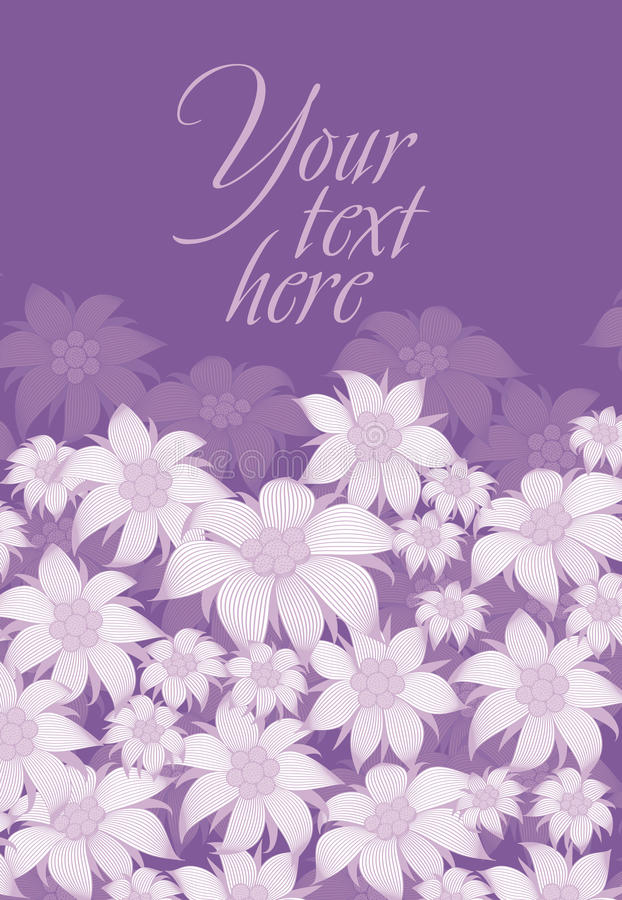 Frame flower. Background of flowers for a poster, invitation, postcard, photo frame, packing paper. On a violet background. Frame flower. Background of flowers stock illustration