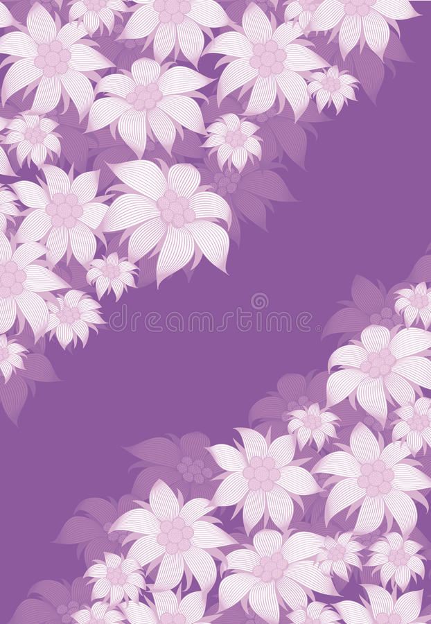 Frame flower. Background of flowers for a poster, invitation, postcard, photo frame, packing paper. On a violet background. Frame flower. Background of flowers royalty free illustration