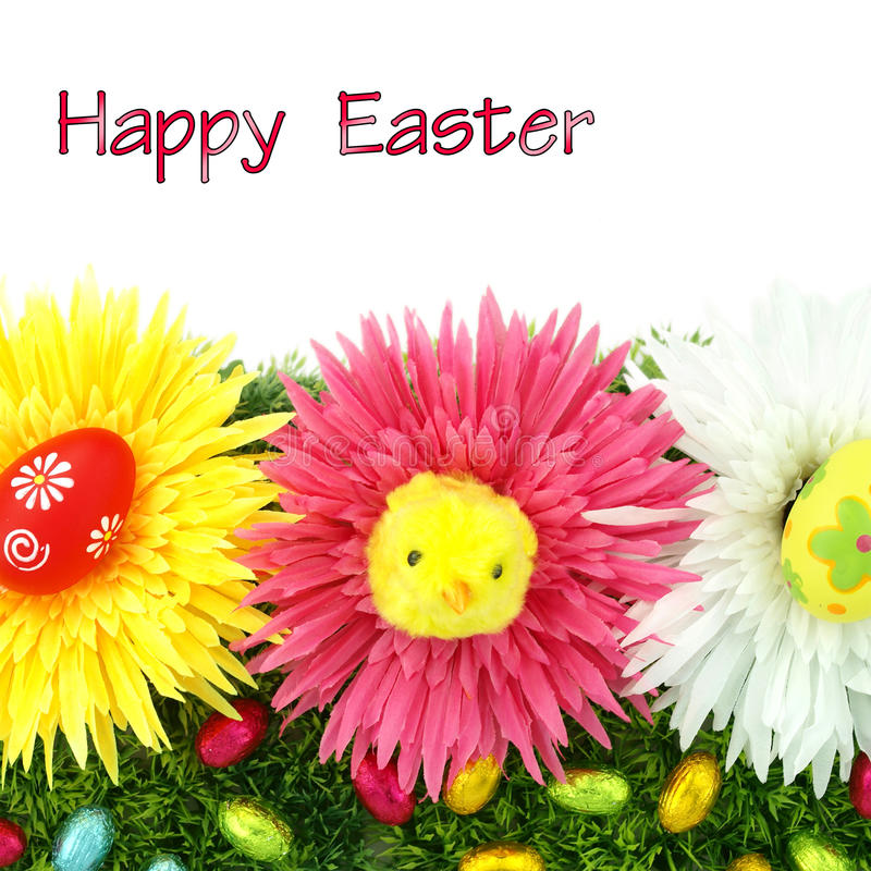 Frame of flowers and Easter eggs