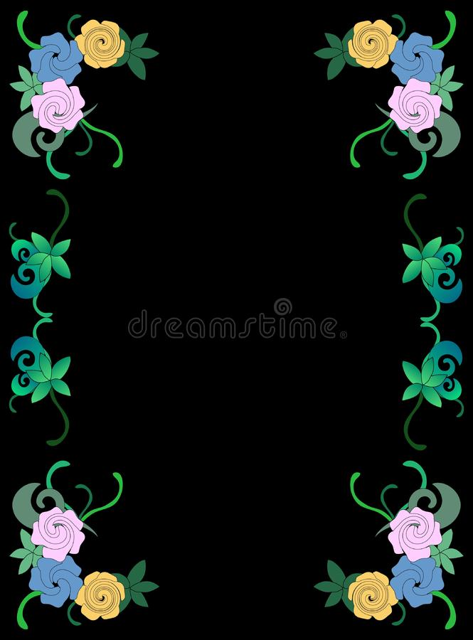 Download Frame of flowers and leave stock vector. Illustration of turquoise - 15267177