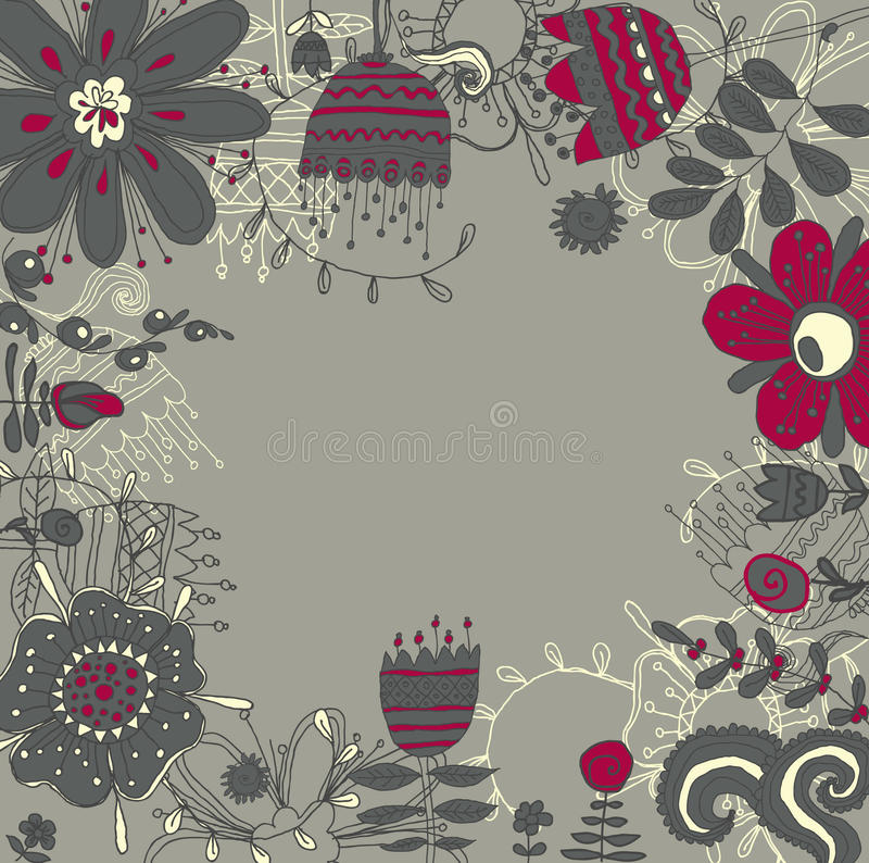 Download Frame with flowers stock vector. Image of foliage, flourish - 34442535