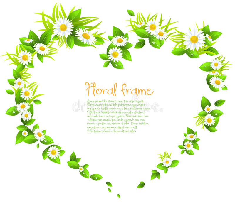Download Frame Of Flowers In The Shape Of A Heart Stock Vector - Image: 32187873