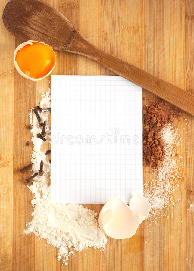Frame Of Food Ingredients And Paper For Recipe Stock Image - Image ...