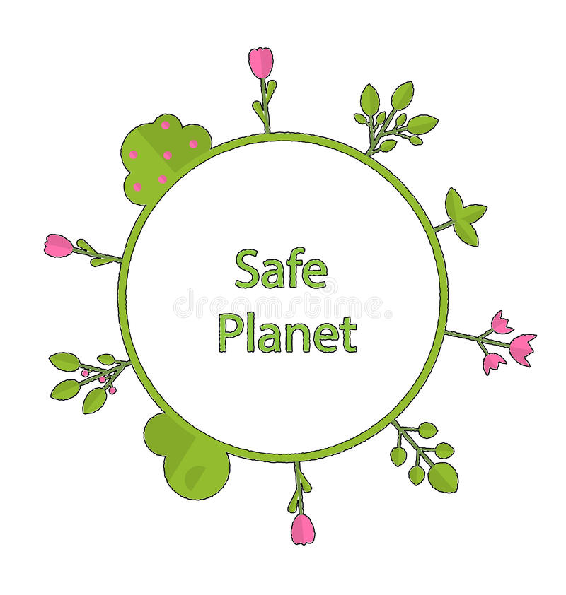 Frame form circle green earth plant flower cry safe planet royalty free illustration