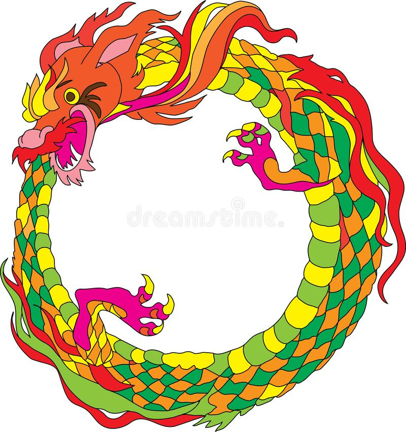 Ring-dragon for frame vector illustration