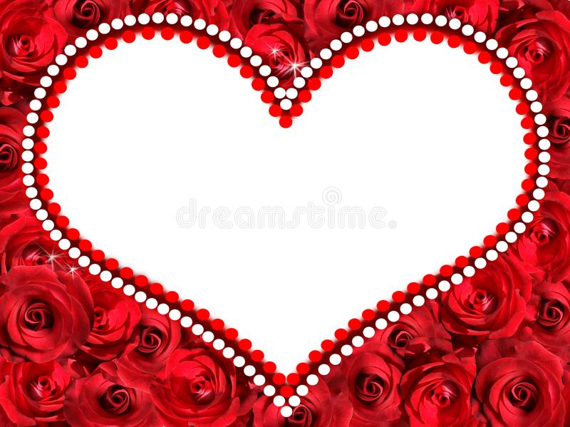 Frame in the form of a heart of red roses. Additional PNG file stock images