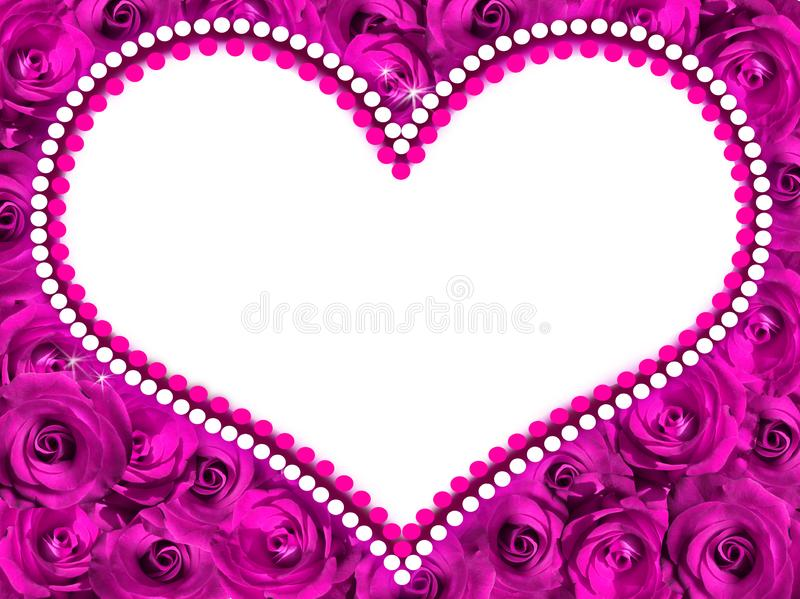 Frame in the form of heart from violet roses. stock image