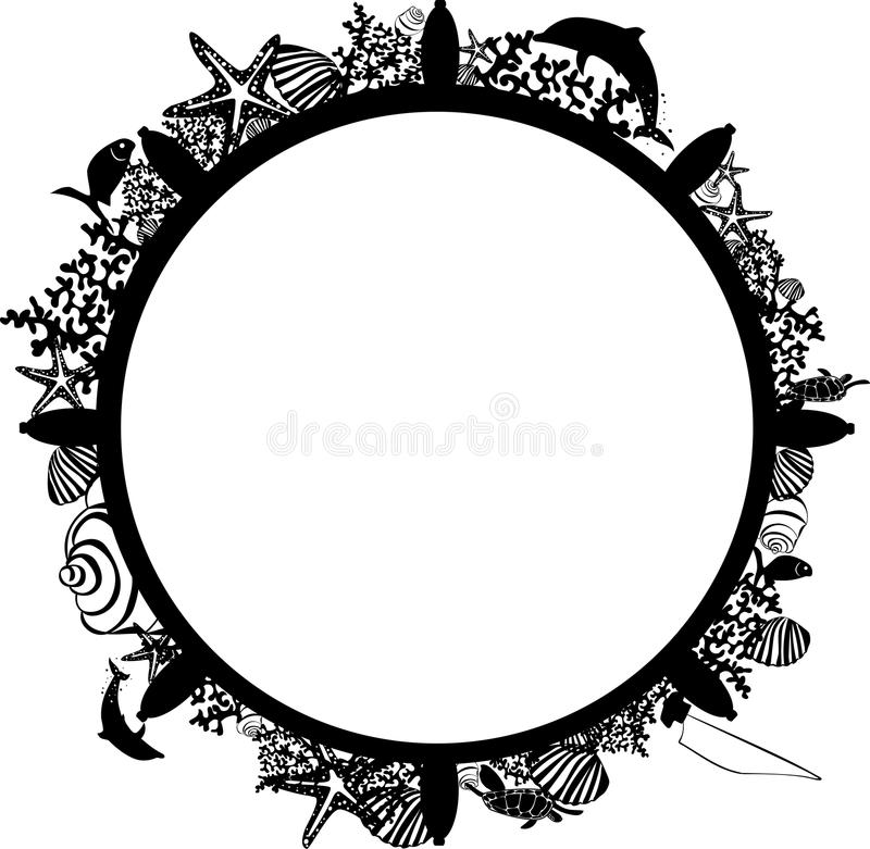 Frame in the form of a steering wheel with marine animals royalty free stock image