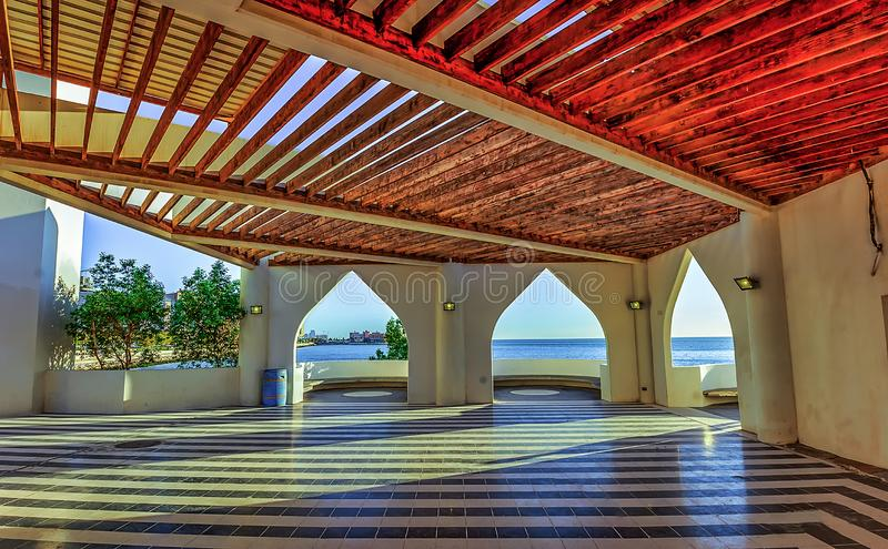 Frame within frame sea side Mosque in Khobar Saudi Arabia. And its peaceful place to visit stock image