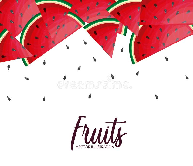 Frame of fresh healthy watermelons fruits royalty free illustration