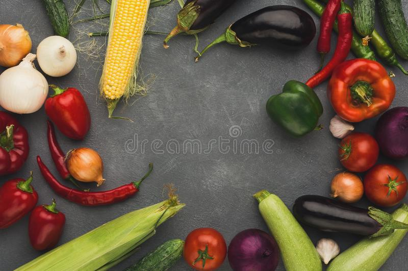 Frame of fresh vegetables on grey backgroundwith copy space. Frame of fresh organic vegetables on grey background. Healthy natural food on rustic wooden table stock images