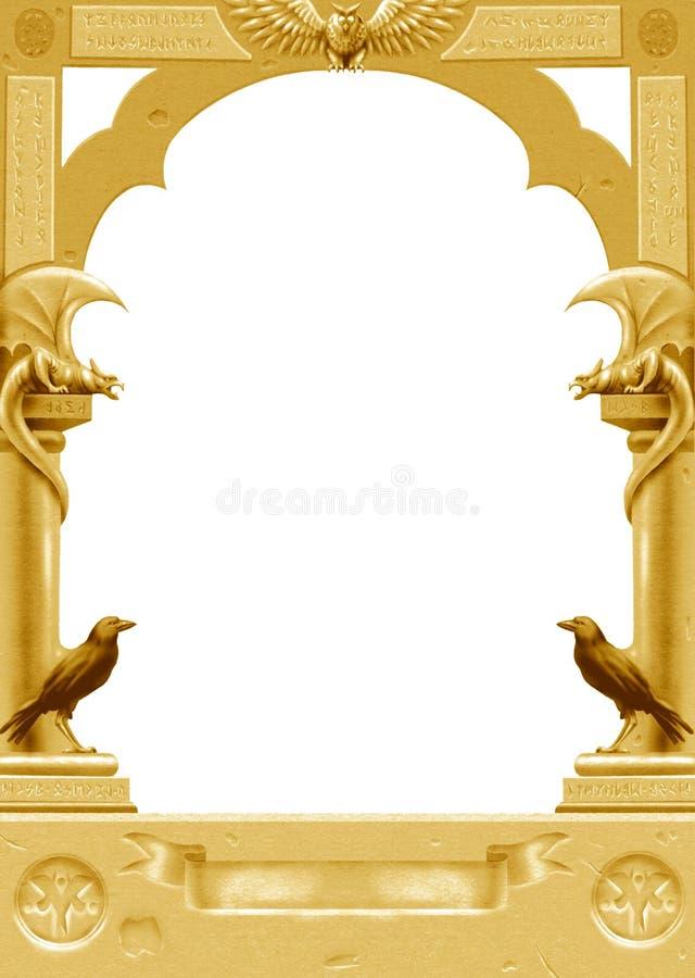 Frame gótico dourado ilustração stock