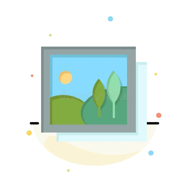Frame, Gallery, Image, Picture Abstract Flat Color Icon Template stock illustration