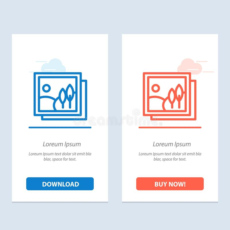 Frame, Gallery, Image, Picture  Blue and Red Download and Buy Now web Widget Card Template royalty free illustration