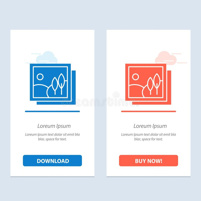Frame, Gallery, Image, Picture  Blue and Red Download and Buy Now web Widget Card Template vector illustration