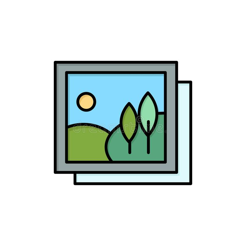 Frame, Gallery, Image, Picture  Flat Color Icon. Vector icon banner Template vector illustration