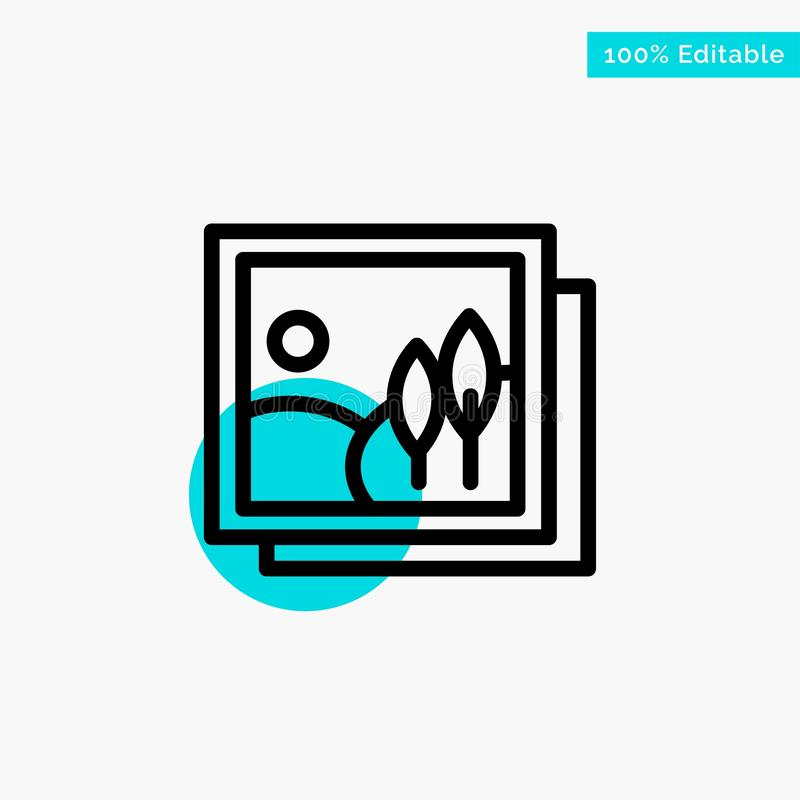 Frame, Gallery, Image, Picture turquoise highlight circle point Vector icon vector illustration
