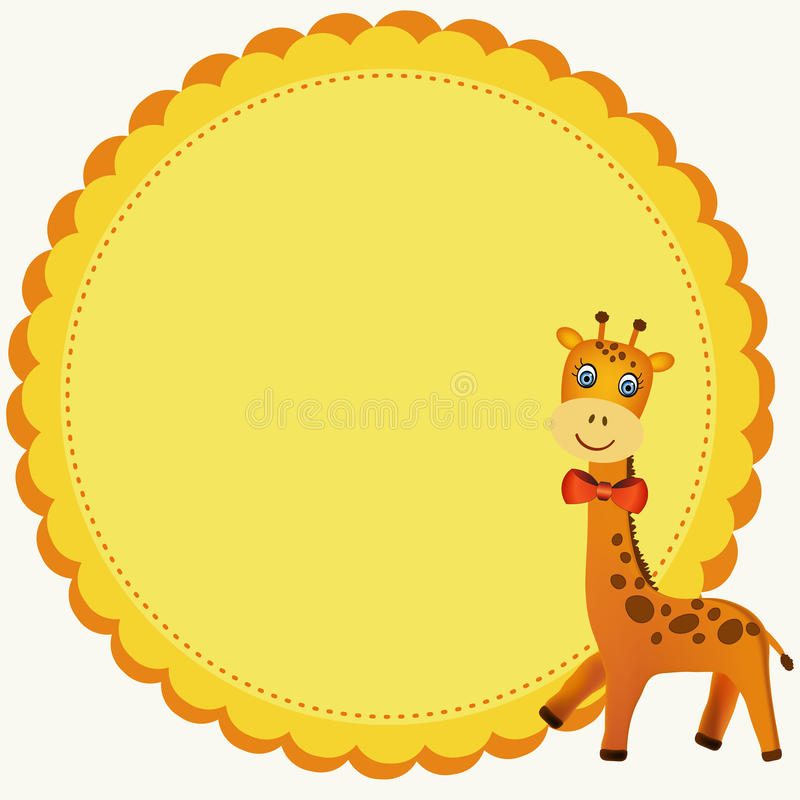 Frame with giraffe illustration stock photo