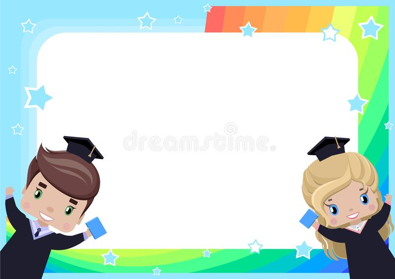 Frame with a girl and a boy graduates in graduation gowns and hats stock illustration