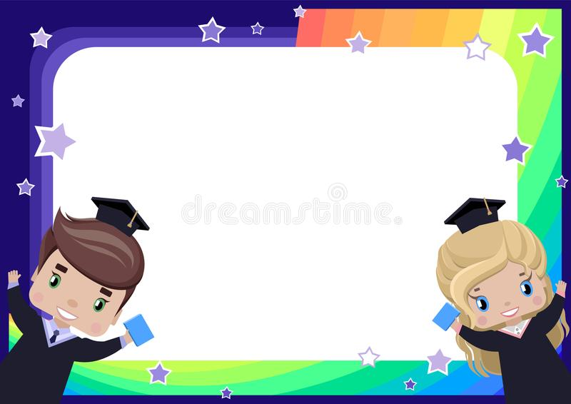 Frame with a girl and a boy graduates in graduation gowns and hats royalty free illustration