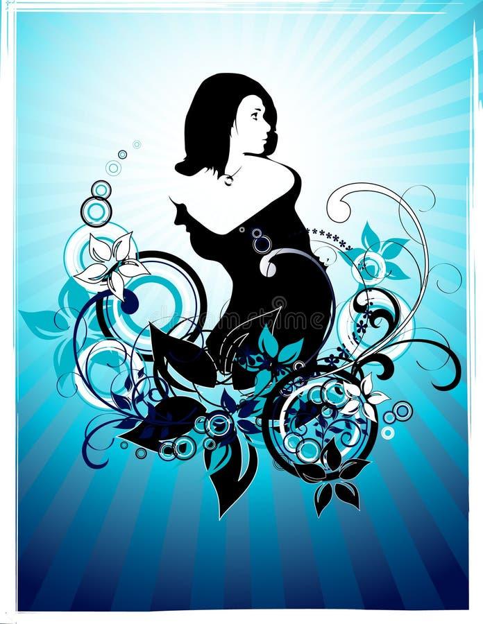 Frame_with_girl_silhouette ilustração stock