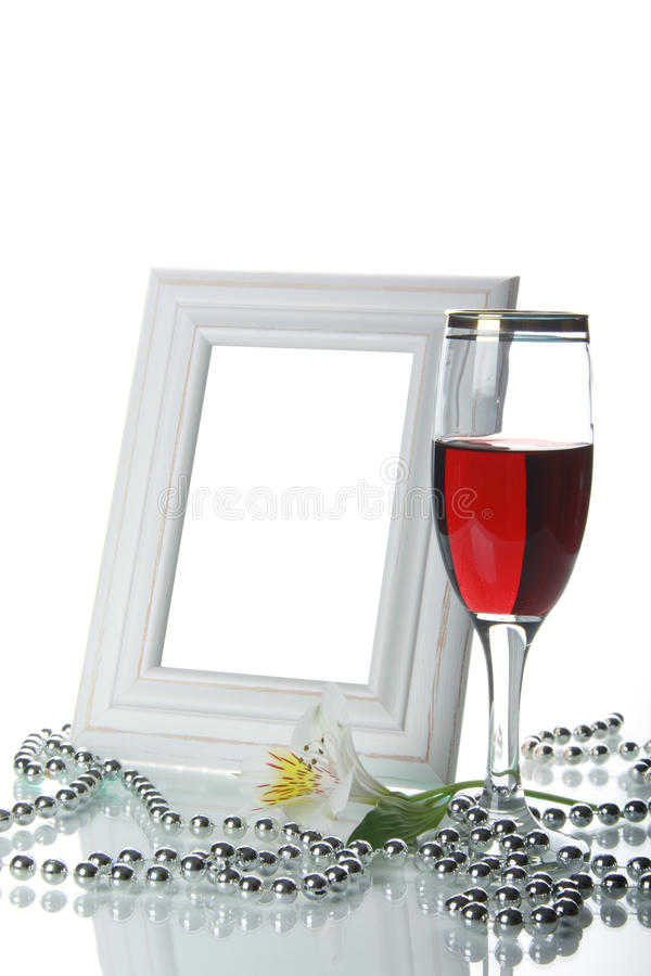 Frame, goblet and orchid royalty free stock photo