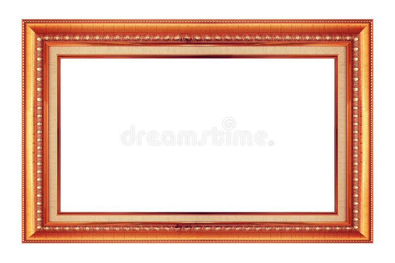 Frame gold and copper vintage isolated background. stock image