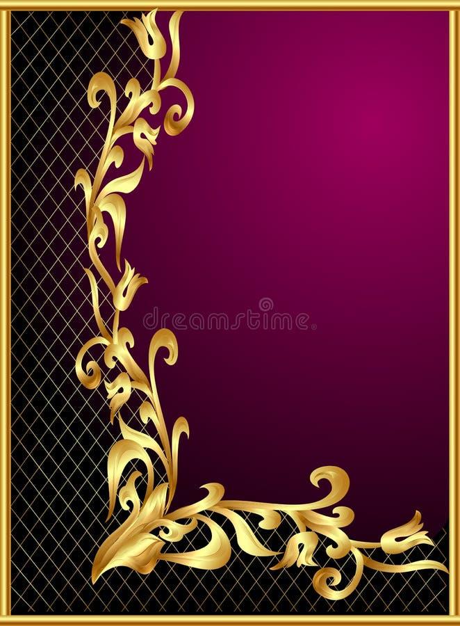 Download Frame With Gold(en) Pattern On Violet Background Stock Vector - Image: 24025731